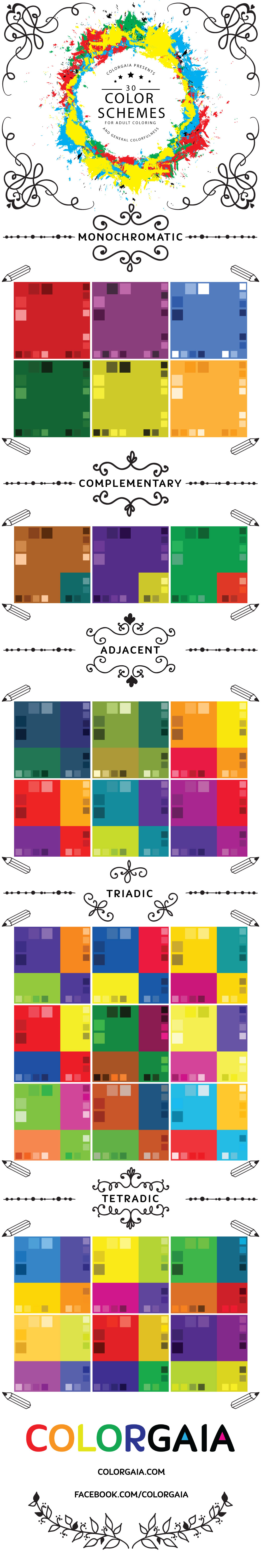 A List Of Thirty Different Color Schemes To Try Out For Your Next Coloring Project