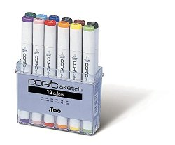 A 12-pack of Copic Sketch markers, the best professional art markers to use in your coloring book