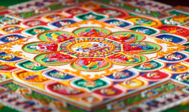 A mandala made out of sand by Tibetan monks
