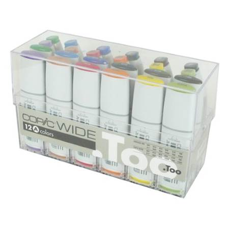 A set of 12 Copic Wide markers with ink replacements